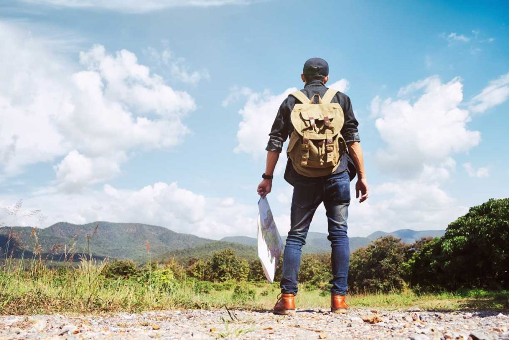 Man Traveling with Backpack